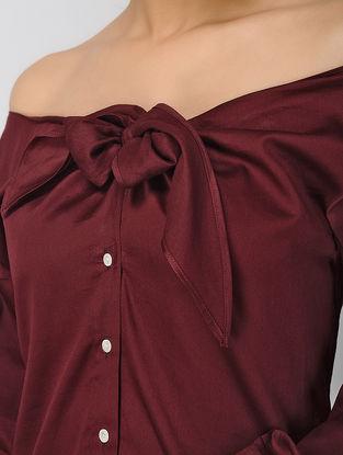 Maroon Off-Shoulder Khadi Silk Top