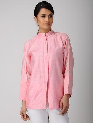 Pink Mandarin Collar Khadi Silk Shirt