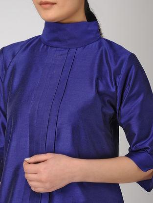 Blue Pleated Khadi Silk Top