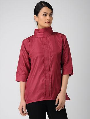 Maroon Pleated Khadi Silk Top