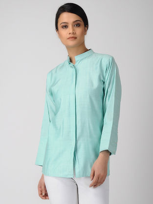 Blue Mandarin Collar Khadi Silk Shirt