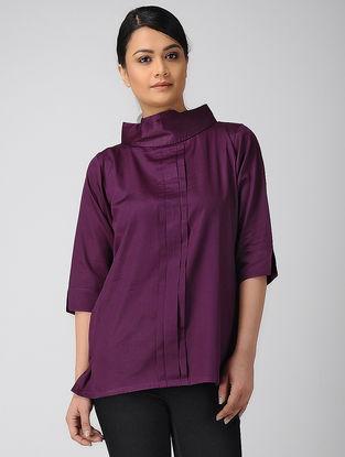 Purple Pleated Khadi Silk Top