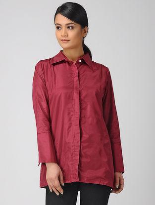 Maroon Khadi Silk Shirt