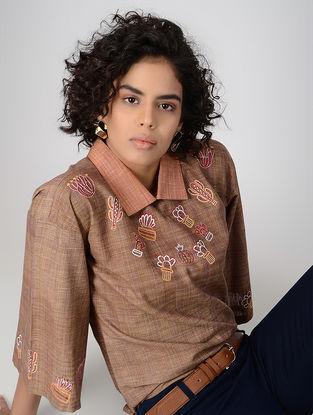 Brown Handspun Khadi Cotton Top