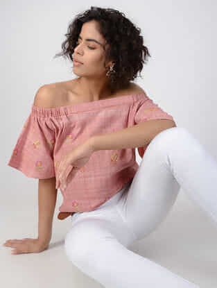Peach Off-shoulder Handspun Khadi Cotton Top