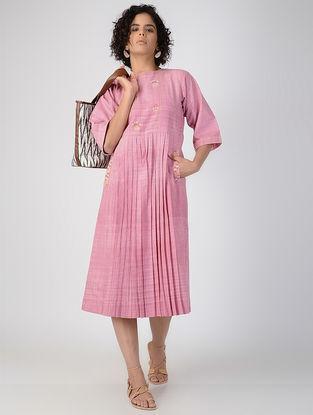 Pink Pleated Handspun Khadi Cotton Dress