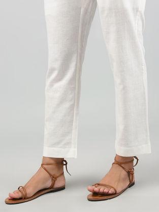 Ivory Tie-up Elasticated Waist Khadi Cotton Pants