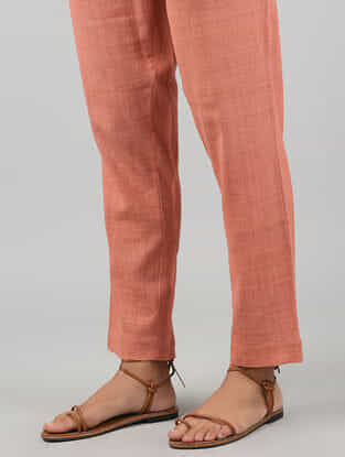 Orange Tie-up Elasticated Waist Khadi Cotton Pants