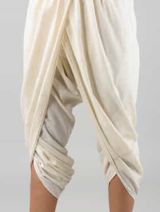 Ivory Elasticated Waist Khadi Cotton Dhoti Pants