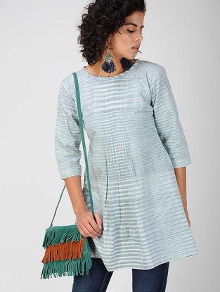 Blue Pleated Khadi Cotton Tunic