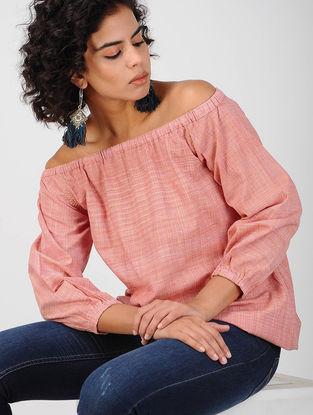 Pink Off-Shoulder Khadi Cotton Top
