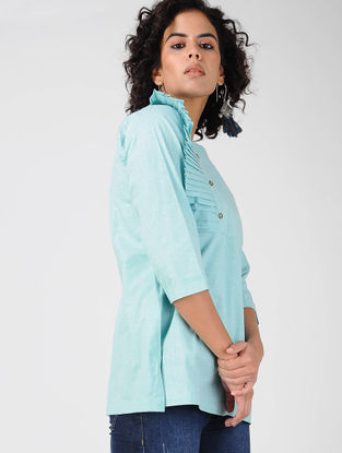 Turquoise Pleated Khadi Cotton Top