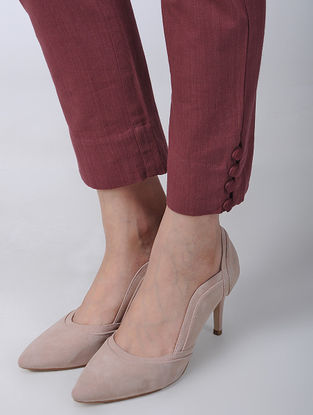 Maroon Khadi Cotton Pants