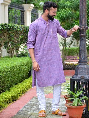 Purple Cotton Khadi Full Sleeve Kurta