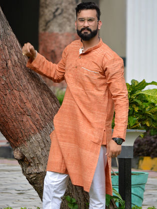 Orange Cotton Khadi Full Sleeve Kurta