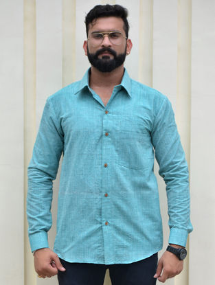 Blue Cotton Khadi Full Sleeve Shirt