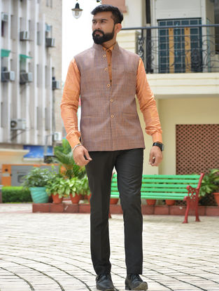 Purple Cotton Khadi Nehru Jacket