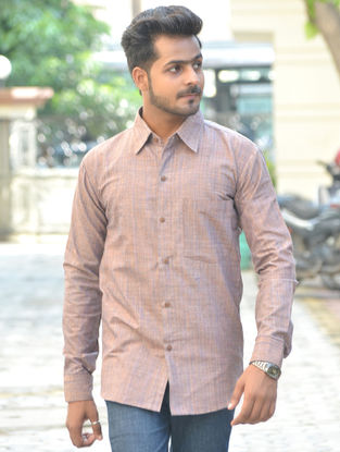 Brown Cotton Khadi Full Sleeve Shirt