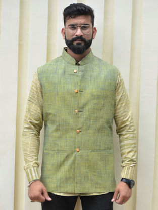 Green Cotton Khadi Nehru Jacket