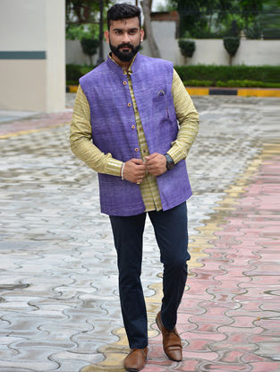 Blue Cotton Khadi Nehru Jacket
