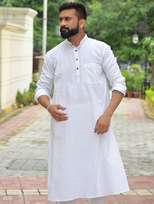 White Cotton Khadi Full Sleeve Kurta