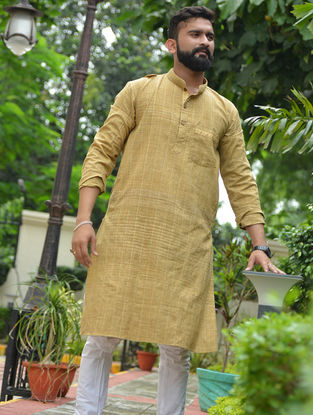 Beige Cotton Khadi Full Sleeve Kurta