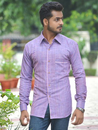 Purple Cotton Khadi Full Sleeve Shirt