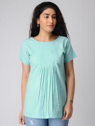 Blue Pleated Khadi Cotton Top
