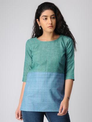 Blue-Green Khadi Cotton Top