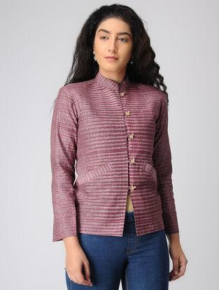 Plum Striped Khadi Cotton Jacket with Mandarin Collar