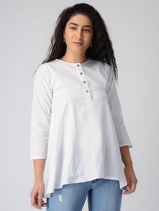 White Khadi Cotton Top with Asymmetrical Hem