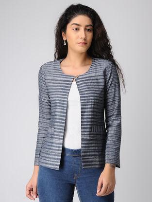 Grey-Black Striped Khadi Cotton Jacket