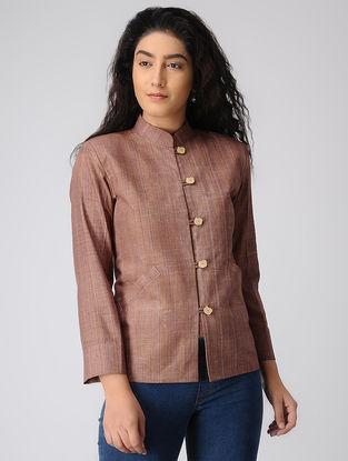 Brown Khadi Cotton Jacket with Mandarin Collar