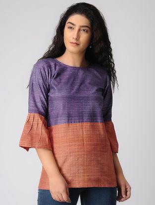 Purple-Rust Khadi Cotton Top