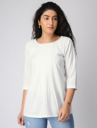 White Pleated Khadi Cotton Top