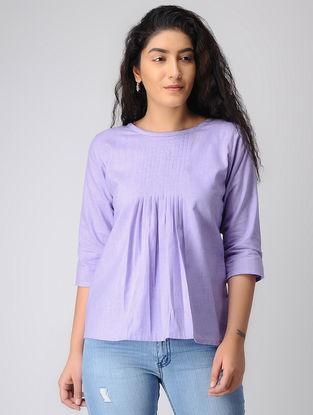 Mauve Pleated Khadi Cotton Top