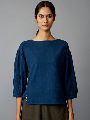 Navy Blue Cotton Long Short Top-Navy