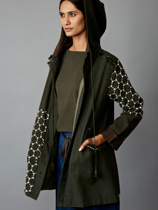 Grey Cotton Hood Jacket
