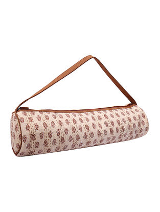 Cream-Beige Kantha Embroidered Block-Printed Cotton Yoga Mat Bag