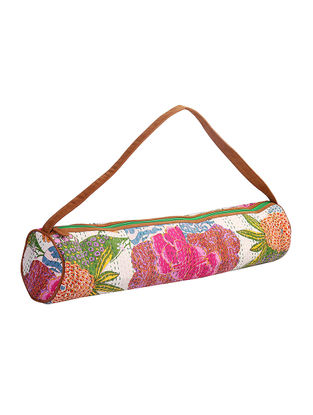 Cream-Multicolored Kantha Embroidered Block-Printed Cotton Yoga Mat Bag