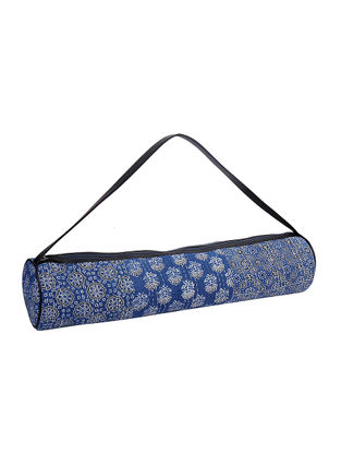 Blue Kantha Embroidered Block-Printed Cotton Yoga Mat Bag