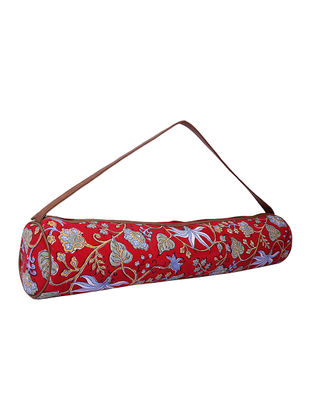 Red Handcrafted Block-Printed Cotton Yoga Mat Bag
