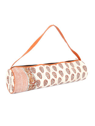 Cream-Orange Kantha Embroidered Block-Printed Cotton Yoga Mat Bag