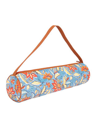 Blue Handcrafted Block-Printed Cotton Yoga Mat Bag