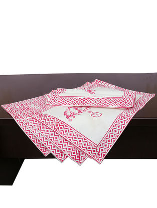 White-Pink Hand Block-printed Cotton Placemats (Set of 6) (L:19.69in, W:13.39in)