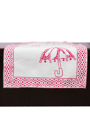 White-Pink Hand Block-printed Cotton Runner (L:45.28in, W:13.78in)