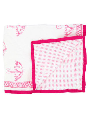 White-Pink Hand Block-printed Cotton Quilt for Baby (L:39.37in, W:47.24in)