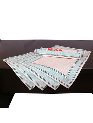 White-Blue Hand Block-printed Cotton Placemats (Set of 6) (L:19.69in, W:13.39in)