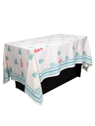 White-Blue Hand Block-printed 6 Seater Cotton Table Cover (L:28.35in)
