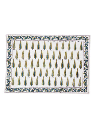 White-Green Hand Block-printed Cotton Placemats (Set of 6) (L:19.69in, W:13.39in)
